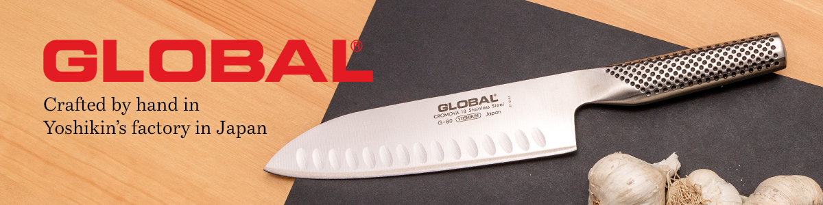 Global Kitchen Knives Crafted by hand in Yoshikin's factory in Japan and decorative background