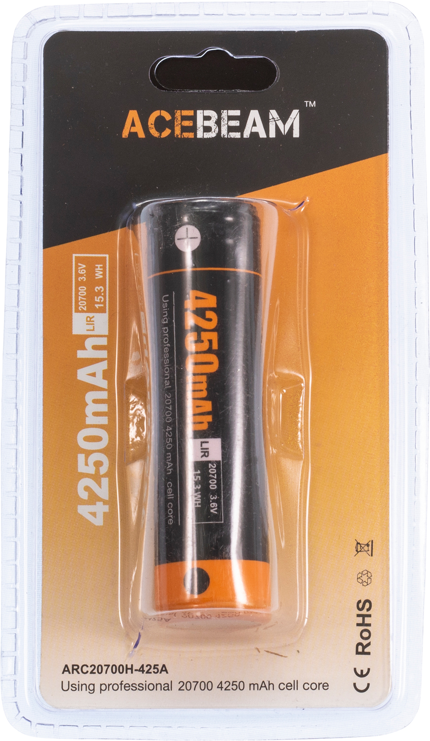 AceBeam ARC-20700 20700 Rechargeable Lithium Battery, 4250mAh
