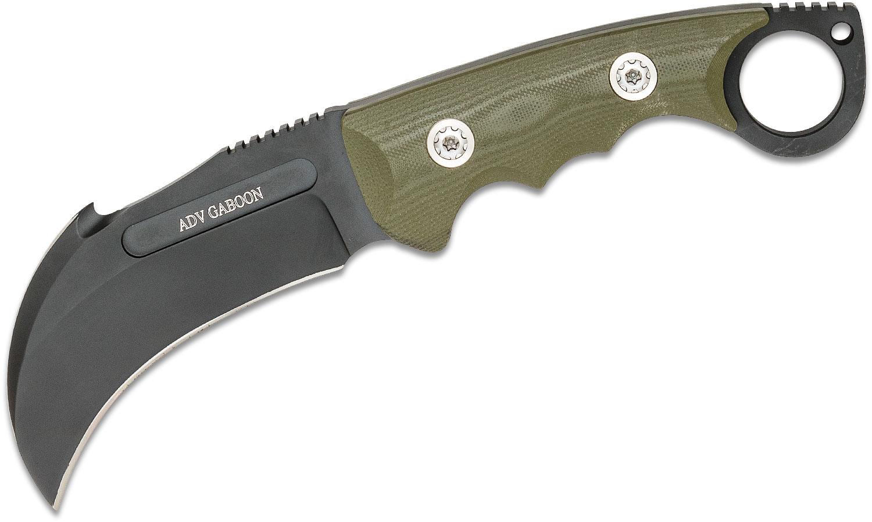 Andre De Villiers Knives Gaboon Fixed Blade Knife 4.125 inch D2 Black Cerakoted Hawkbill, Green G10 Handles, Kydex Sheath