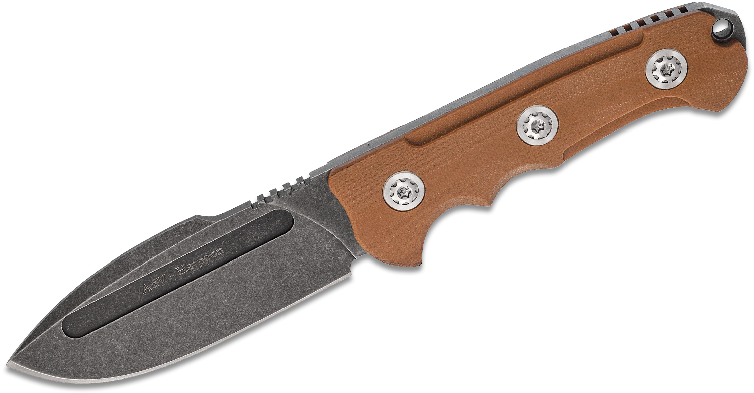 Andre De Villiers Knives Harpoon Fixed Blade Knife 4.125 inch N690 Black Stonewashed Drop Point, Coyote Brown G10 Handles, Kydex Sheath