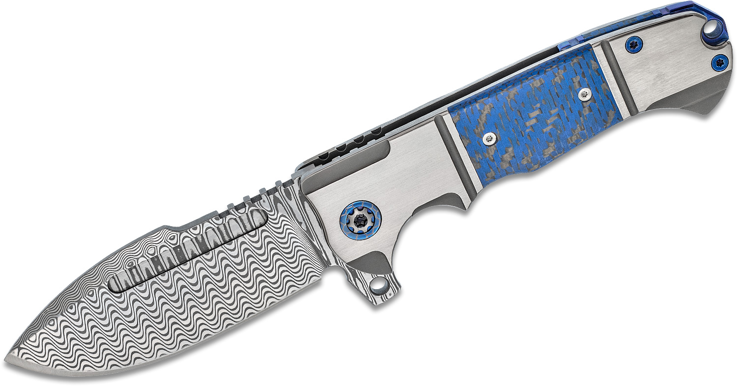 Andre De Villiers Knives Harpoon Flipper Knife 3.8 inch VG-10 Damascus Blade, Titanium Handles with Blue Carbon Fiber Inlays
