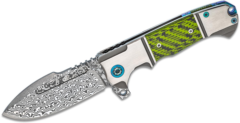 Andre De Villiers Knives Harpoon Flipper Knife 3.8 inch VG-10 Damascus Blade, Titanium Handles with Green Carbon Fiber Inlays
