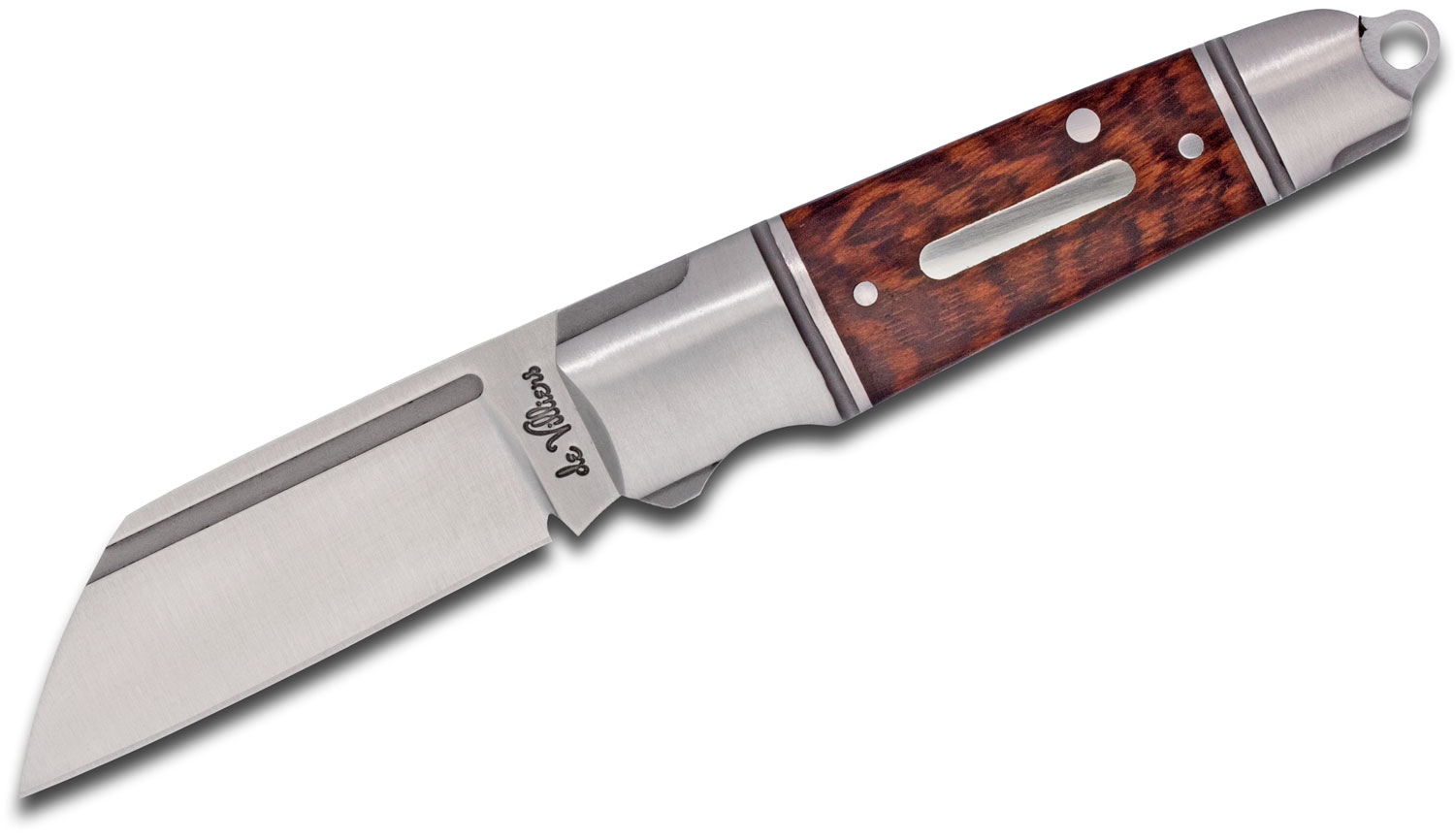 Andre De Villiers Knives Mini Pocket Butcher Slipjoint Folding Knife 2.125 inch N690 Wharncliffe Blade, Stainless Steel Handles with Rosewood Inlays