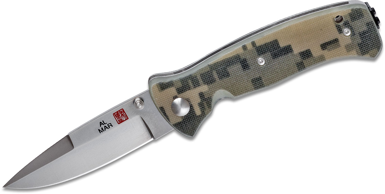 Al Mar MS2KDC Mini SERE 2000 Folding Knife 3 inch VG10 Satin Plain Blade, Digi Camo G10 Handles