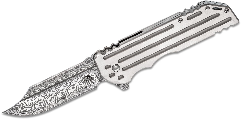 Alphahunter Tactical Design Custom War Bowie #4 Flipper Knife 3.875 inch Gysinge Damasteel Blade, Milled Titanium Handles