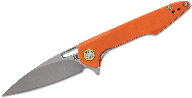 ArtisanCutlery Small Archaeo Flipper Knife 3 inch D2 Drop Point Blade, Textured Orange G10 Handles