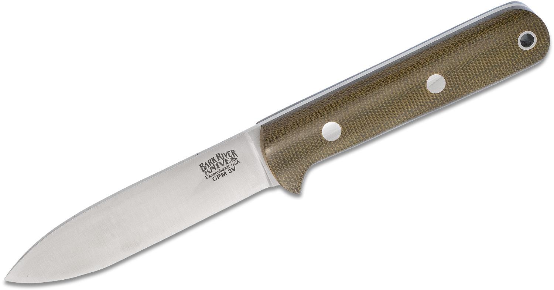 Bark River Knives Mini Kephart Fixed 3.62 inch CPM-3V Tool Steel Blade, Green Canvas Micarta Handles, Leather Sheath
