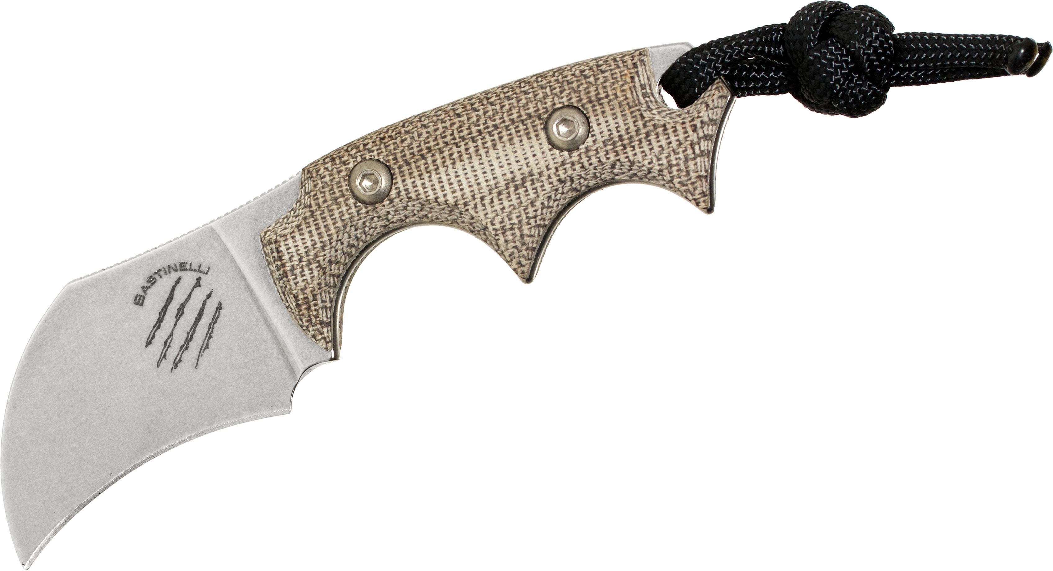 Bastinelli Creations BB Drago Champi Fixed 2 inch N690CO Hawkbill Blade, Micarta Handles, Kydex Sheath