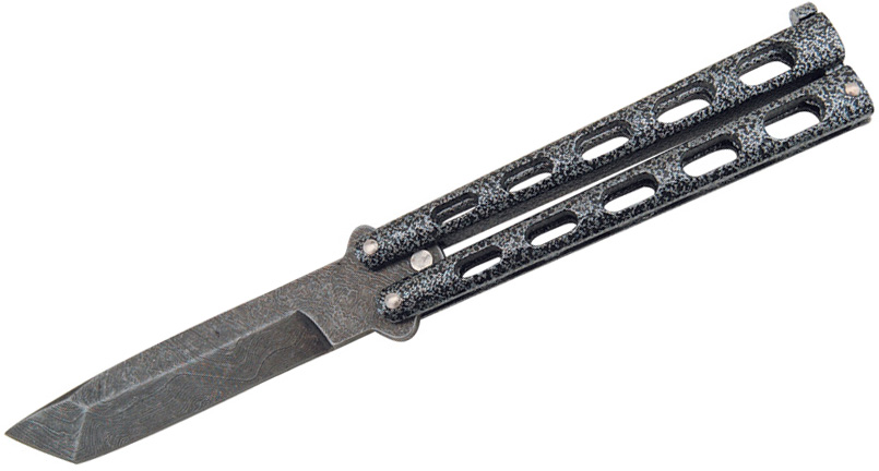 Bear & Son 114AD Balisong Butterfly Knife 3.875 inch Damascus Tanto Blade, Silver Vein Zinc Handles