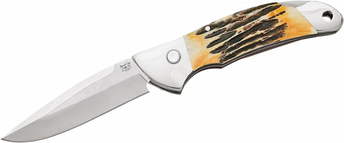 Bear & Son 5A08 Automatic Lockback Folding Knife 3.875 inch Closed, Genuine India Stag Bone Handles