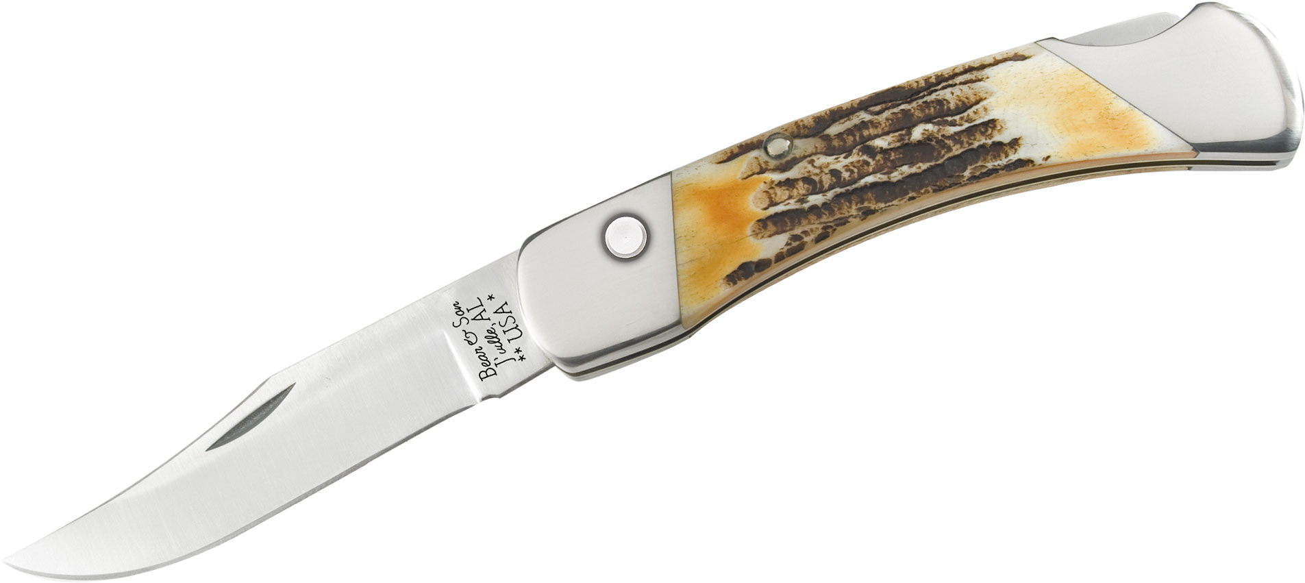 Bear & Son 5A97 Automatic Lockback Folding Knife 5 inch Closed, Genuine India Stag Bone Handles