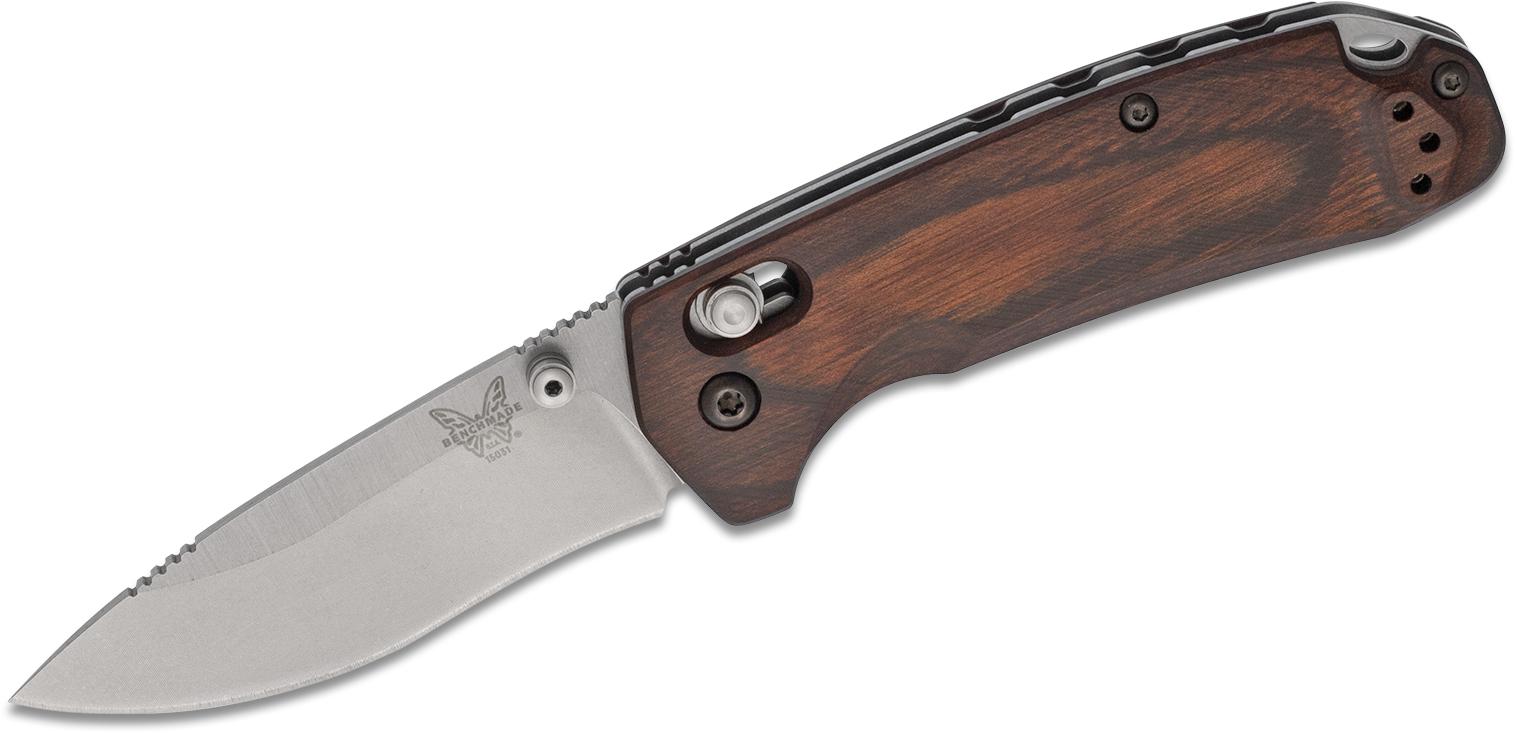 Benchmade Hunt 15031-2 North Fork Folding Knife 2.97 inch S30V Blade, Stabilized Wood Handles