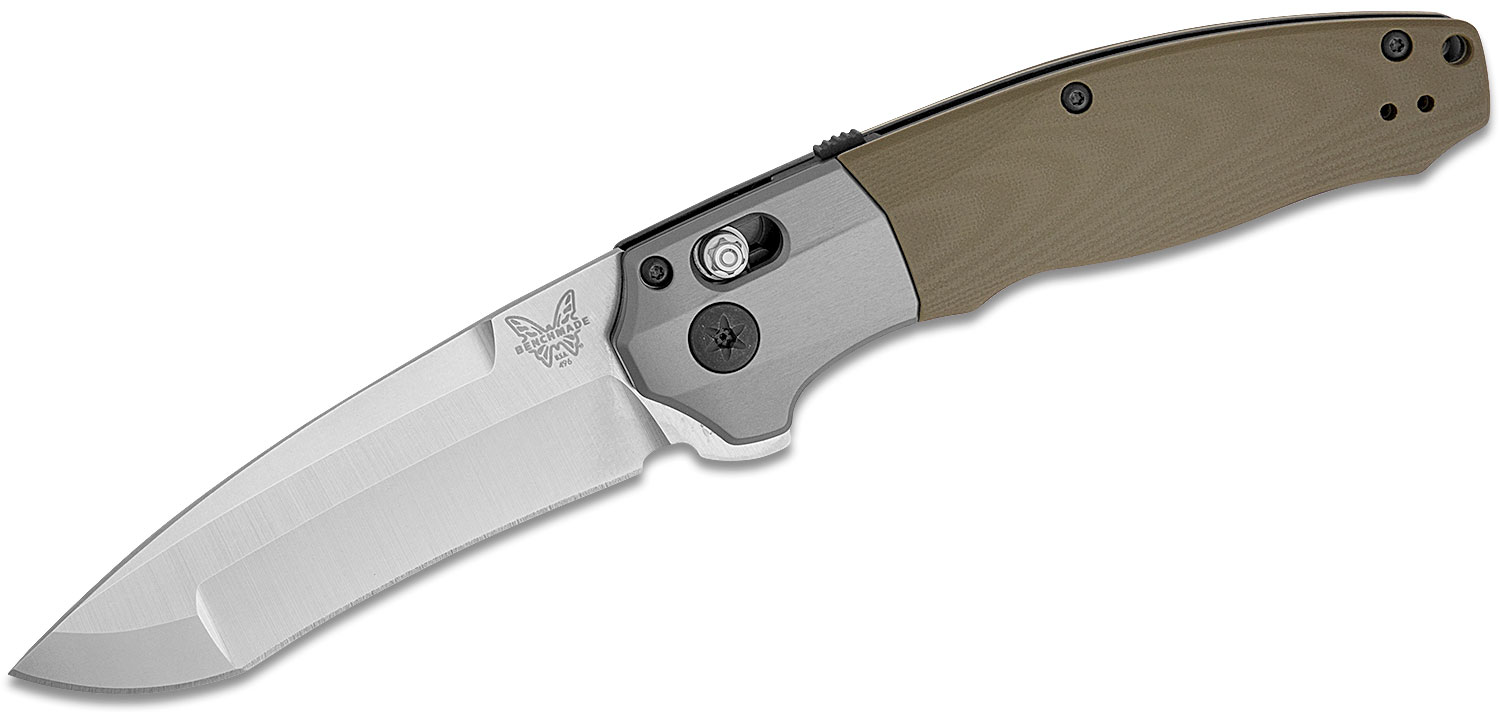 Benchmade Vector AXIS-Assisted Flipper Knife 3.6 inch CPM-20CV Satin Blade, Contoured OD Green G10 Handles with Aluminum Bolsters