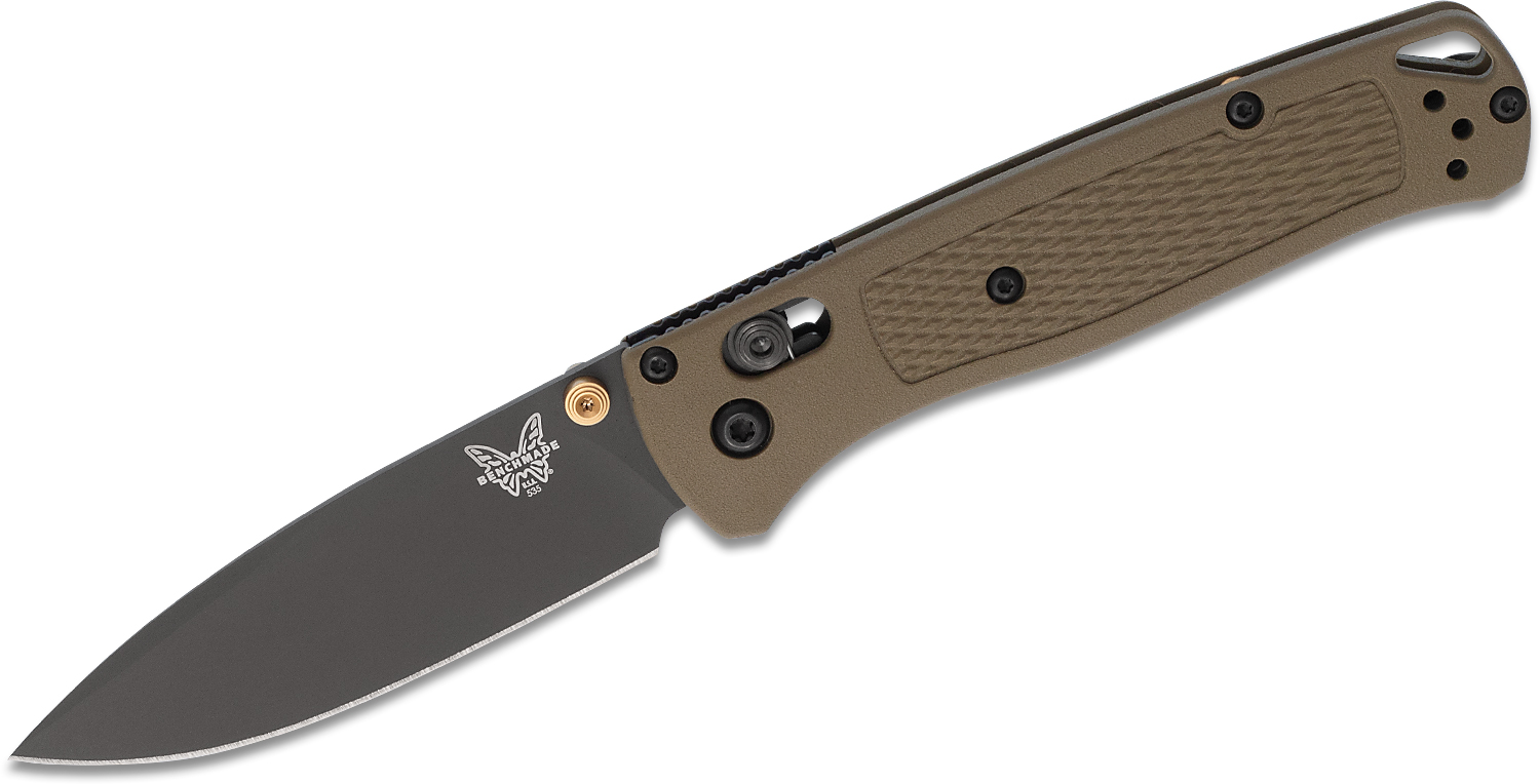 Benchmade Bugout AXIS Folding Knife 3.24 inch S30V Smoked Gray Plain Blade, Ranger Green Grivory Handles