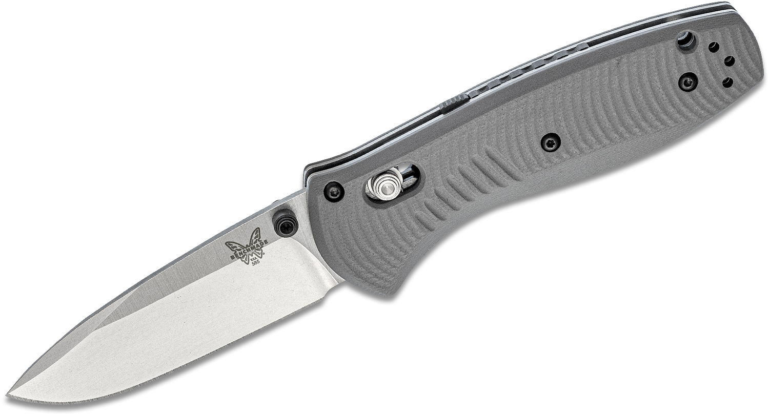 Benchmade 585-2 Mini Barrage AXIS Assisted Folding Knife 2.91 inch S30V Satin Plain Blade, Gray G10 Handles