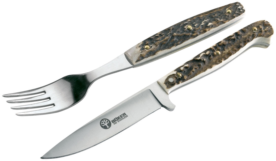 Boker Arbolito Stamigo Knife and Fork Dining/Picnic Set, Stag Handles, Leather Sheath
