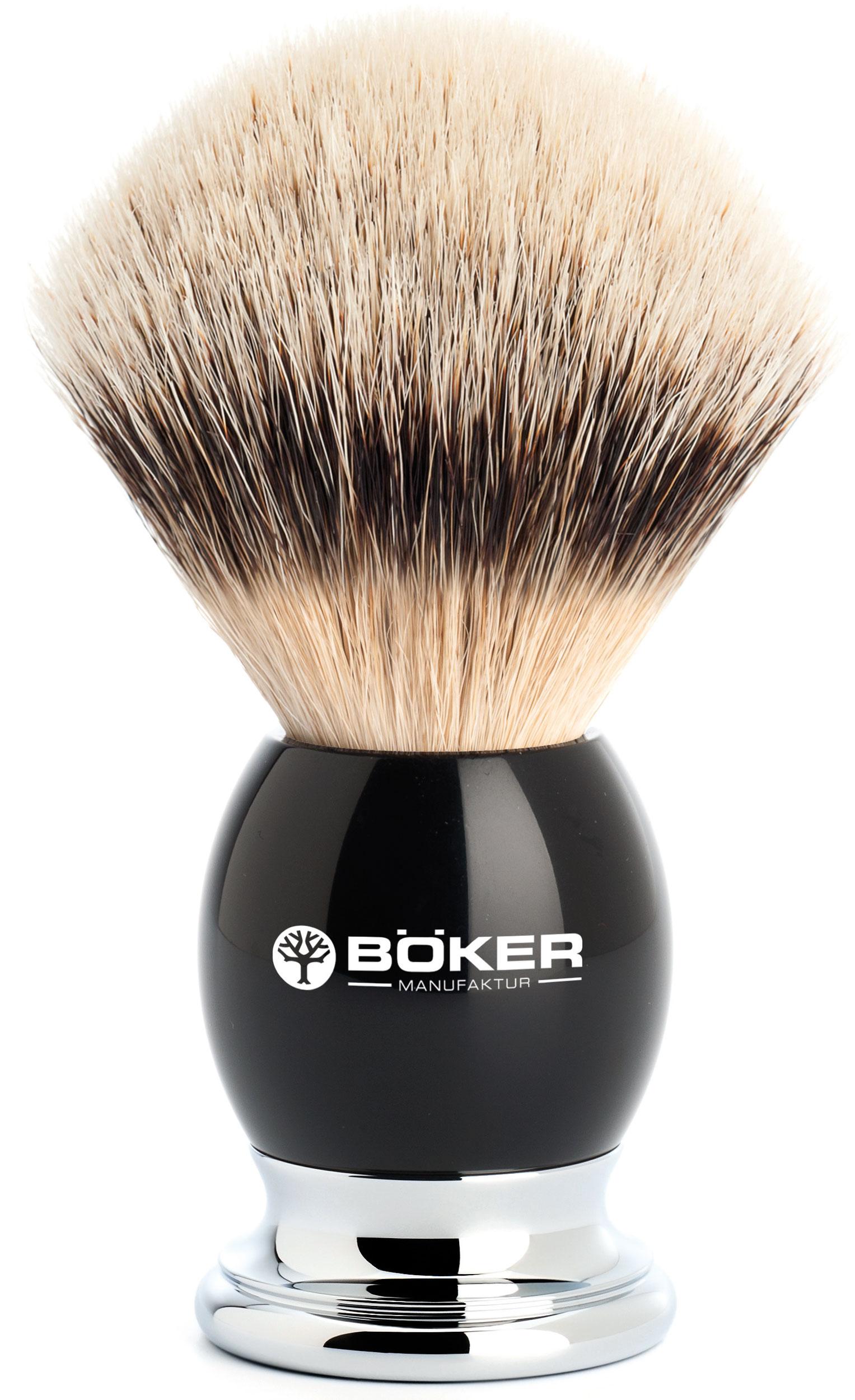 Boker Silvertip Badger Shaving Brush, Grenadill Wood Handle
