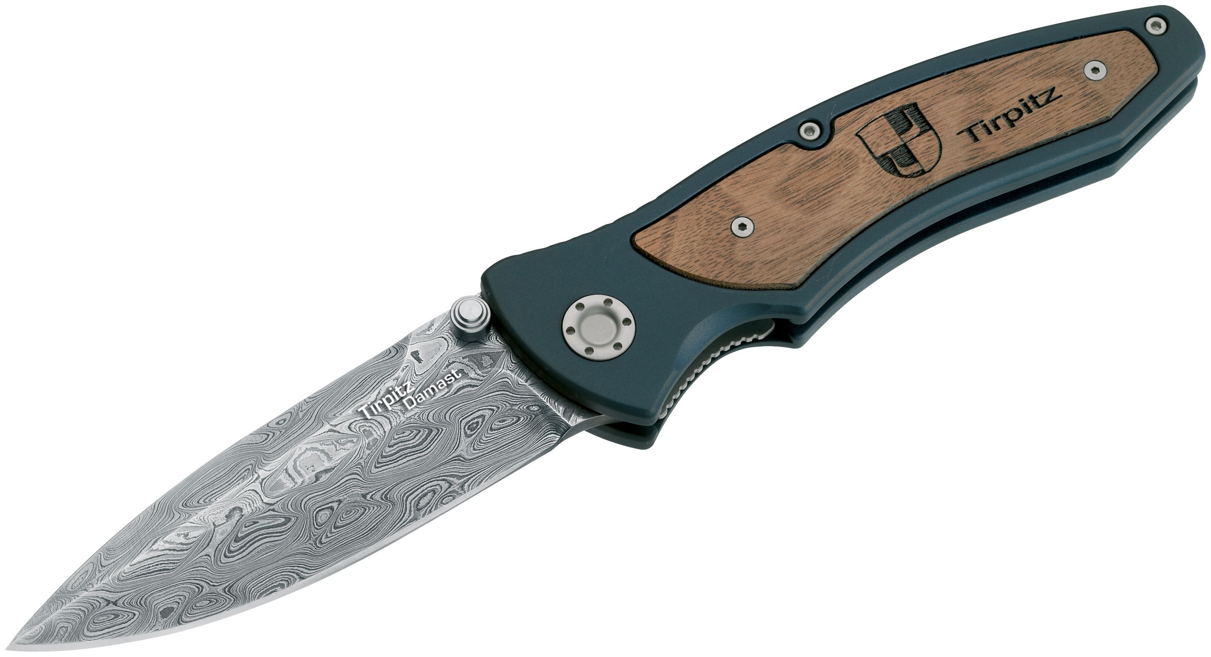 Boker Tirpitz Folding Knife 3-7/8 inch Damascus Blade, Aluminum Handles with Walnut Inlay