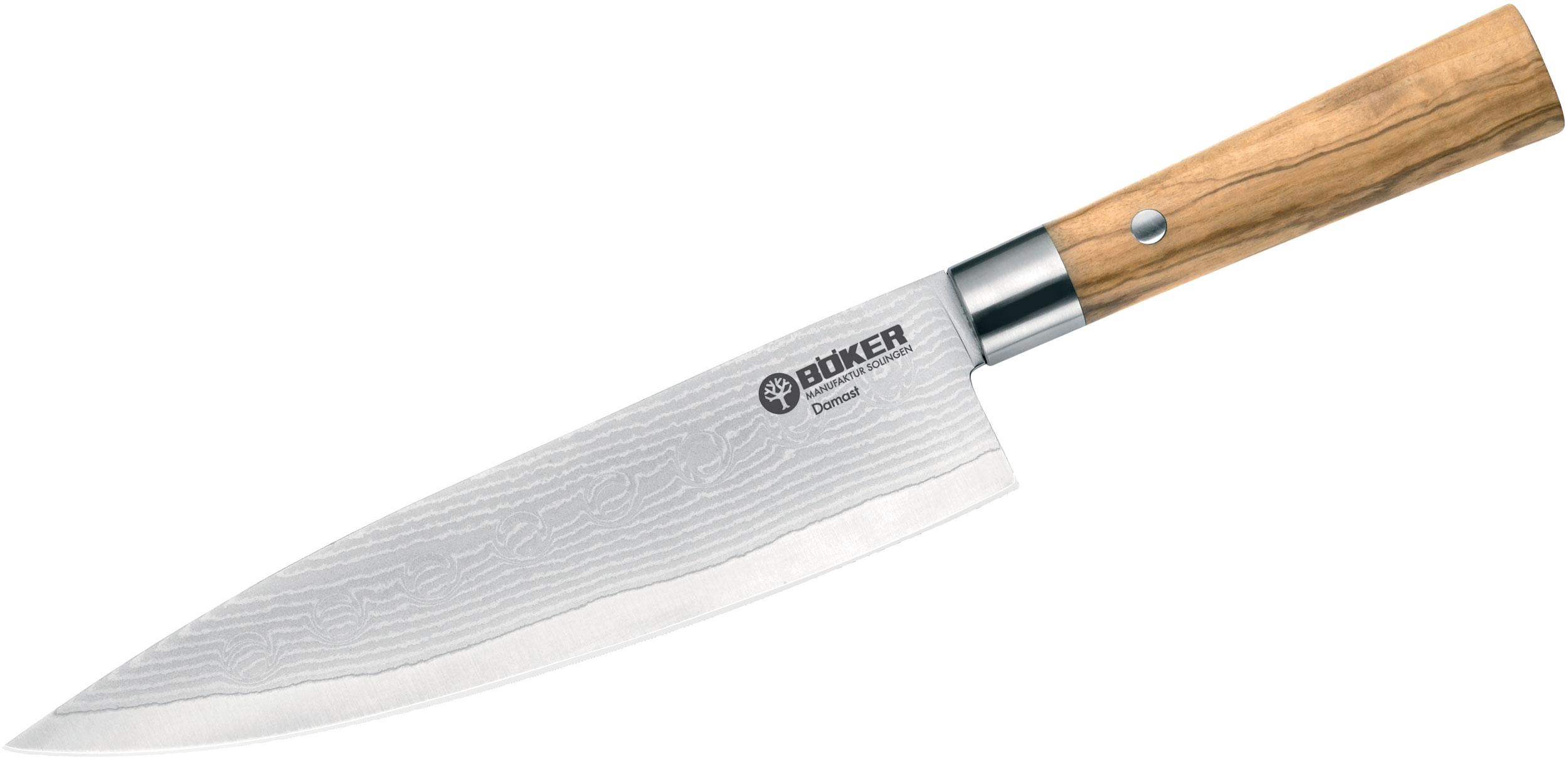 Boker Damascus Olive Chef's Knife 8.125 inch Blade, Olive Wood Handles