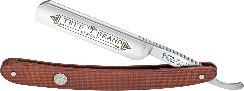Boker Tree Brand Straight Razor 5/8 inch Carbon Steel Blade, Brown Canvas Micarta Handles