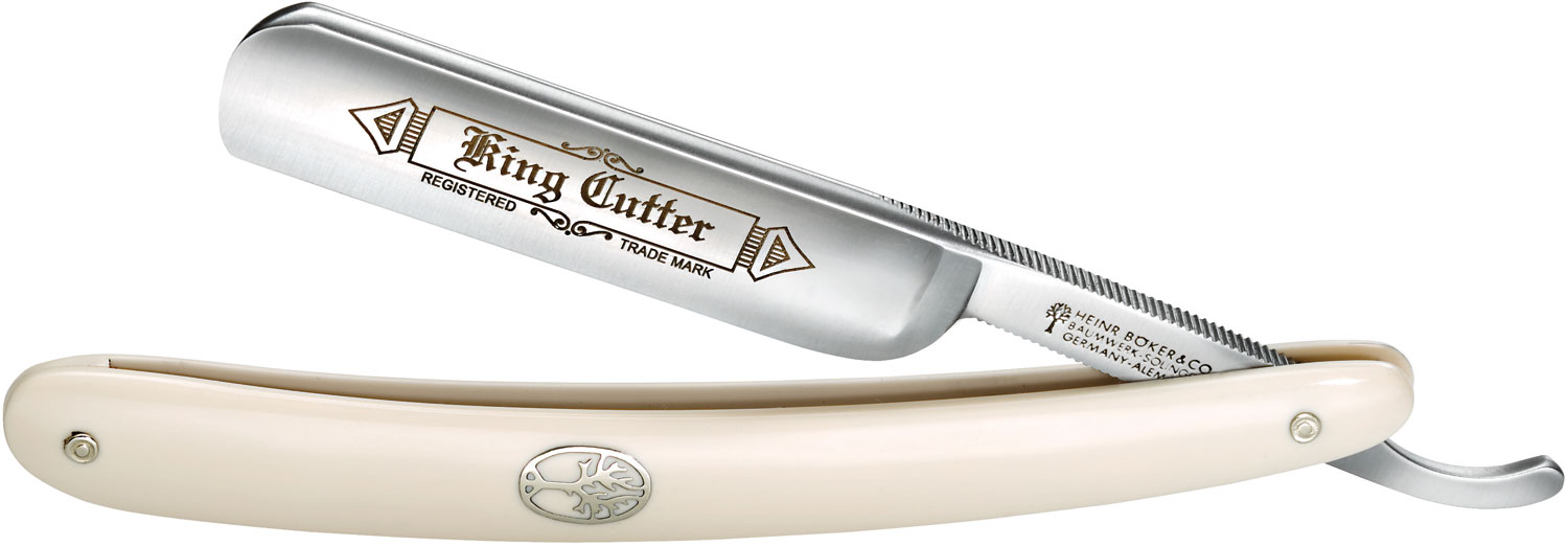 Boker King Cutter Straight Razor 5/8 inch Carbon Steel Blade, White Synthetic Handles