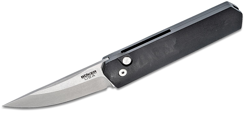 Boker Plus/Pro-Tech USA-Made Burnley Kwaiken Compact AUTO Folding Knife 3 inch 154CM Stonewashed Blade, Black Aluminum Handles