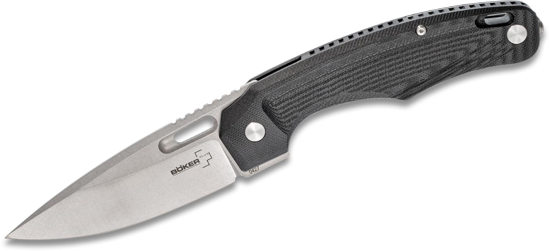 Boker Plus Warbird Flipper Knife 3.625 inch D2 Stonewashed Blade, Black G10 Handles