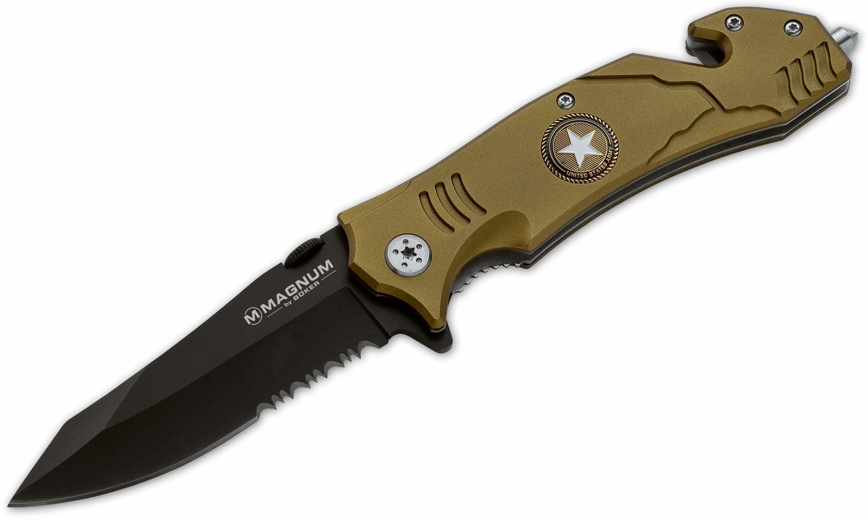 Boker Magnum Army Rescue Flipper 3-2/5 inch Black Combo Blade, Olive Aluminum Handles