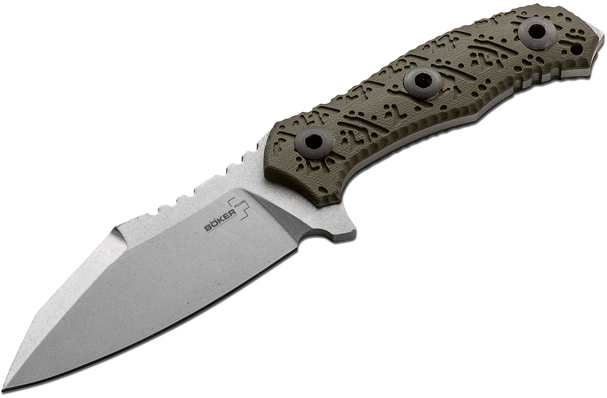 Boker Plus Colubris Fixed 4.25 inch Stonewash Blade, G10 Handles