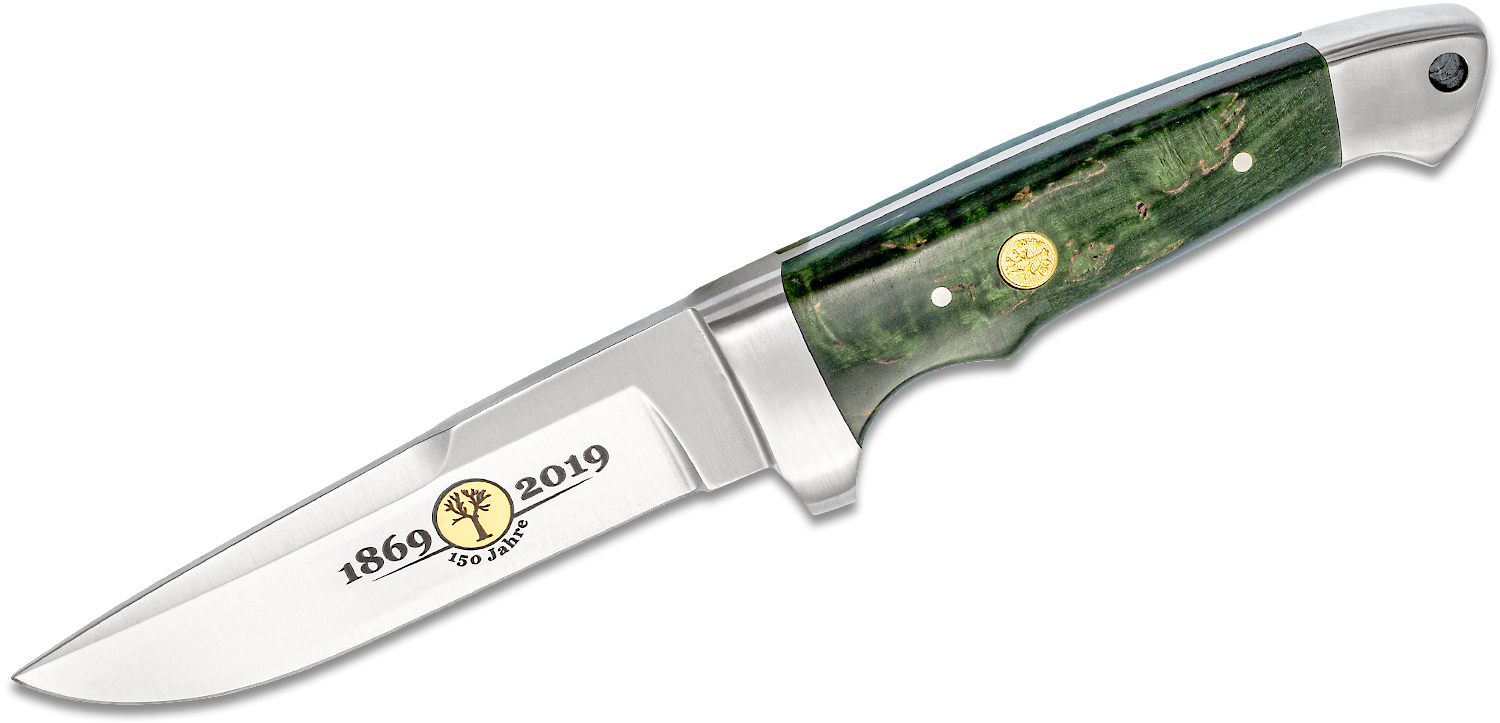 Boker 150th Anniversary Vollintegral Fixed 4.625 inch Polished Satin Blade, Green Curly Birch Handles, Black Leather Sheath