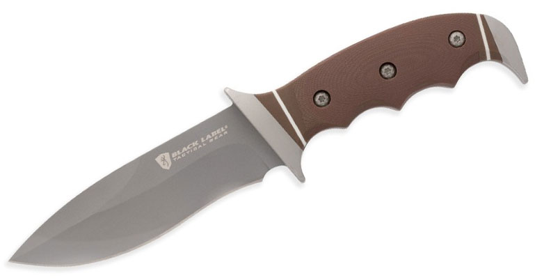 Browning Black Label Shadowfax Fixed 4.625 inch Drop Point Blade, Brown G10 Handles, Injection Molded Sheath