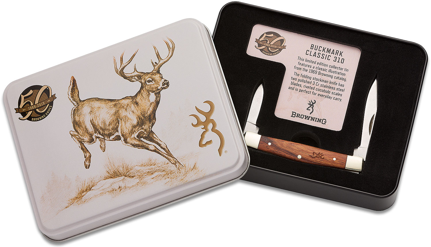 Browning 50th Anniversary Buckmark Classic 310 Stockman Knife 3.25 inch Closed, Cocobolo Wood Handles, Commemorative Gift Tin