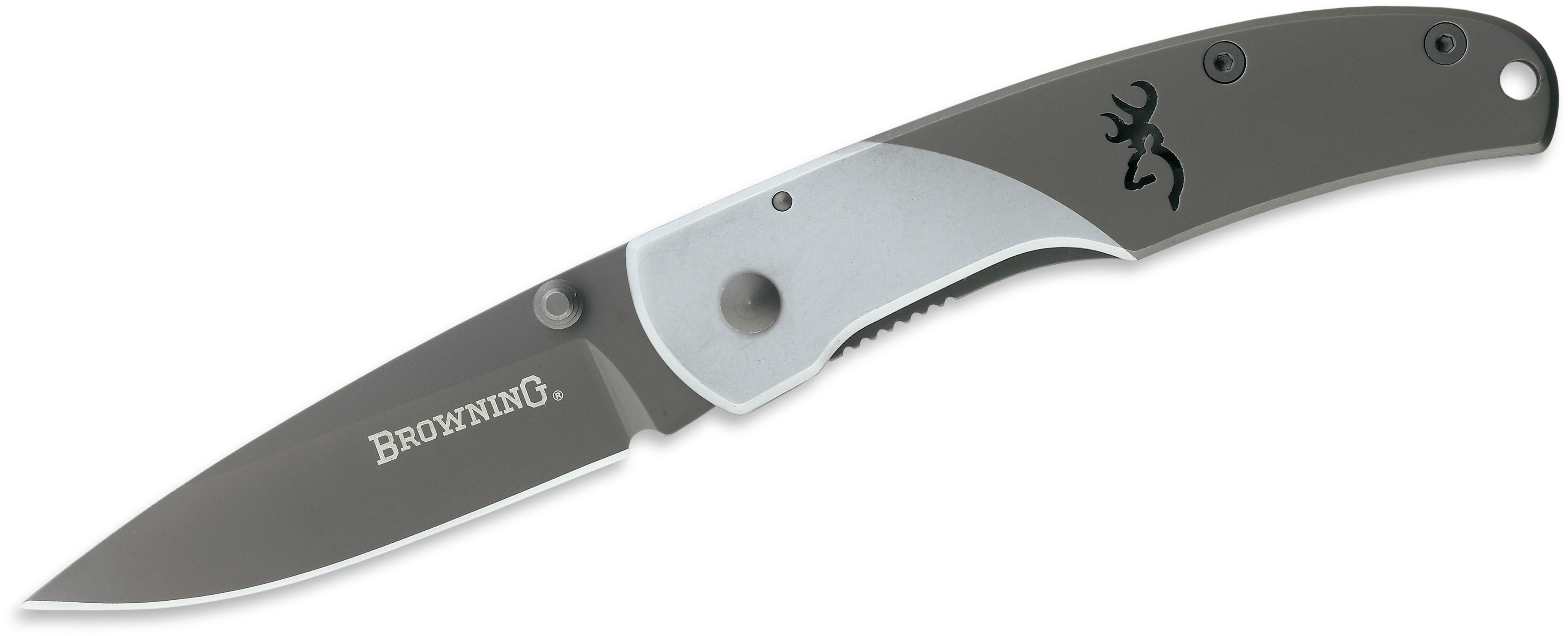 Browning Mountain Ti Medium Folding Knife 3 inch Drop Point Blade, Stainless Steel Handles