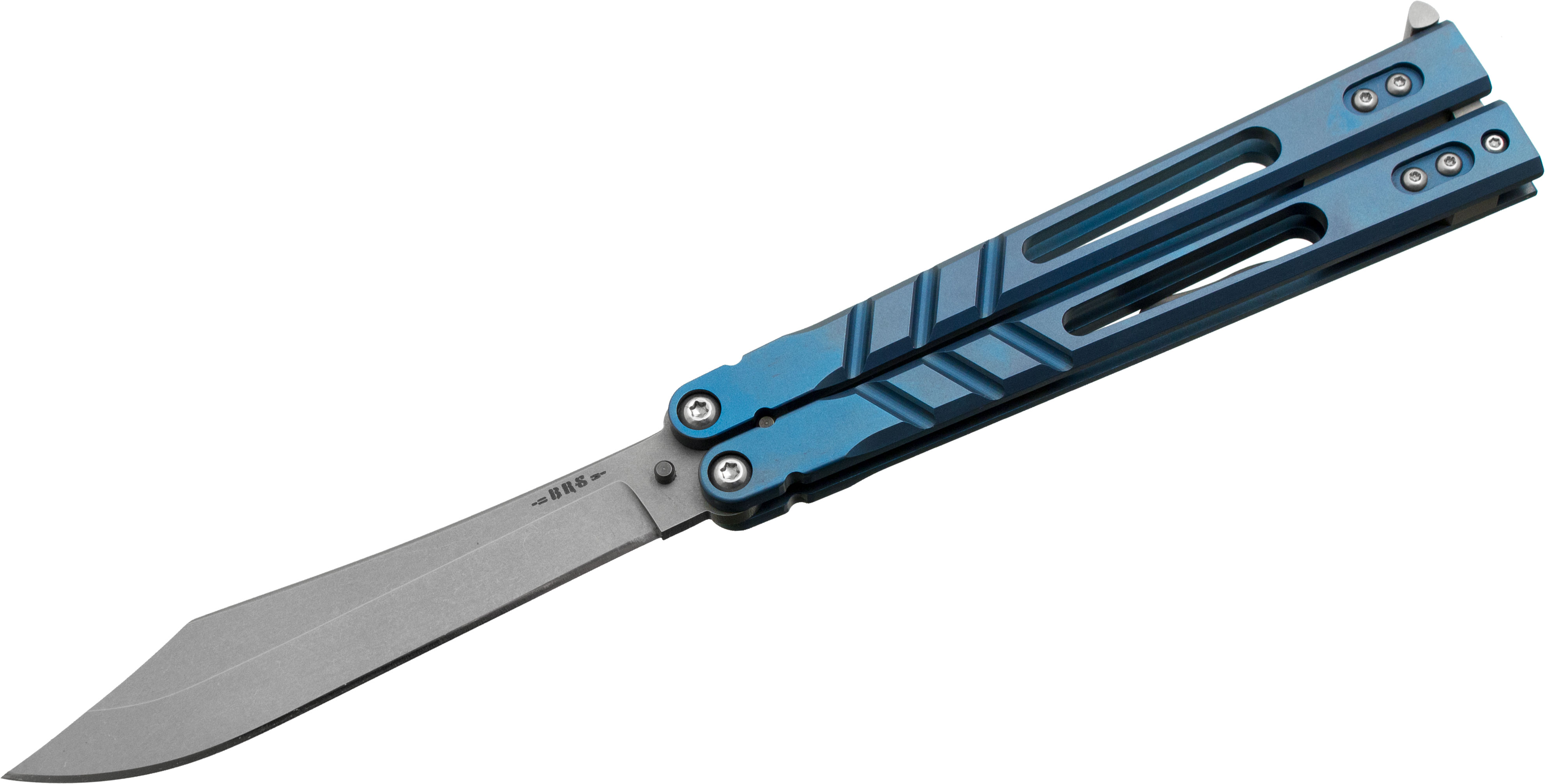 BRS Bladerunners Systems Premium Alpha Beast Balisong Butterfly 4.5 inch 154CM Clip Point Blade, Blue Anodized Titanium Handles