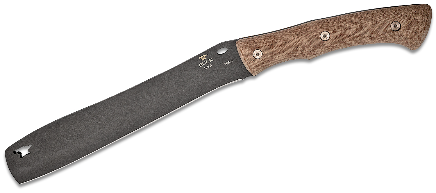 Buck 108 Compadre Chopping Froe Fixed Blade Knife 9.5 inch Cerakote Cobalt, Natural Canvas Micarta Handles, Black Leather Sheath
