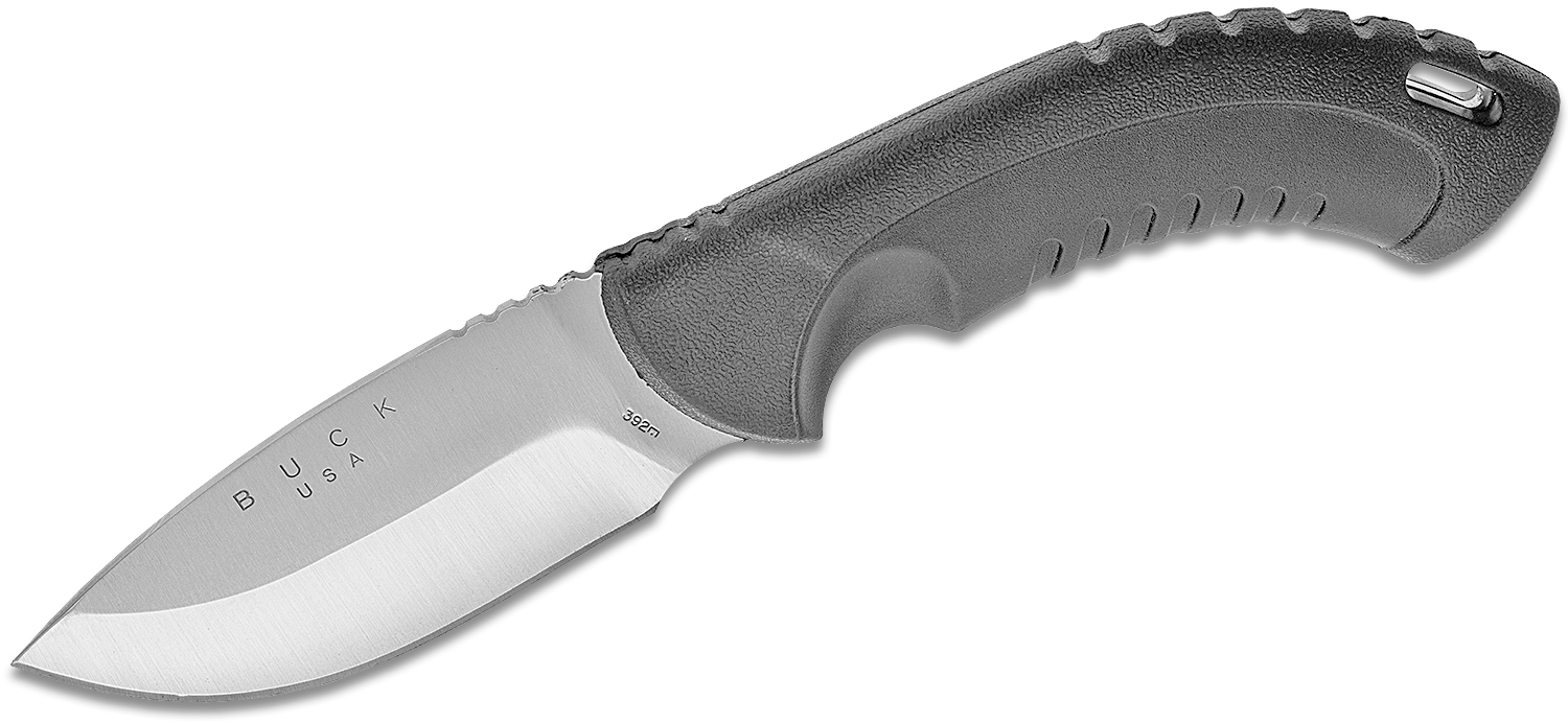 Buck Omni Hunter 12PT 4 inch Plain Edge Fixed Blade w/Sheath, Black