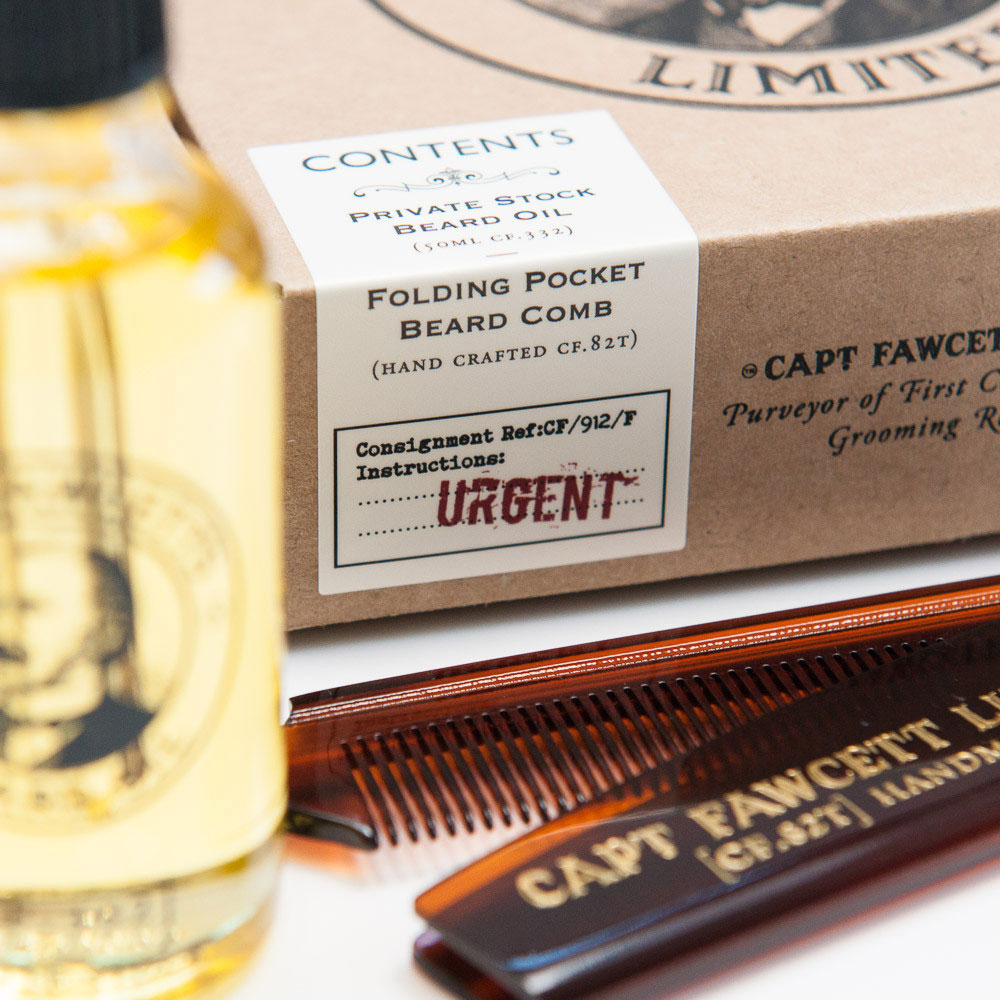 Captain Fawcett Beard Oil and Folding Pocket Beard Comb