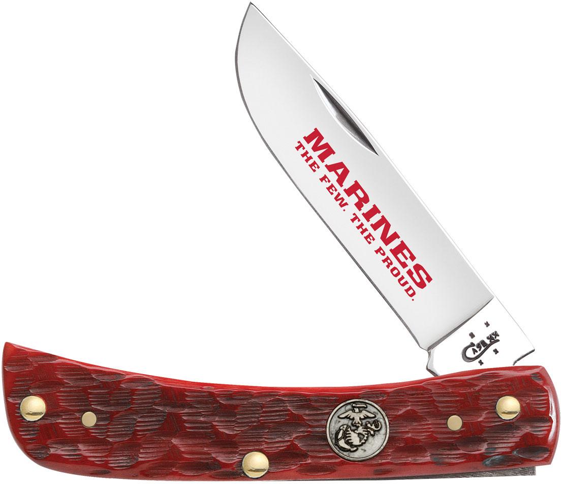 Case Marines Dark Red Bone Sod Buster Jr 3-5/8 inch Closed (6137 SS)