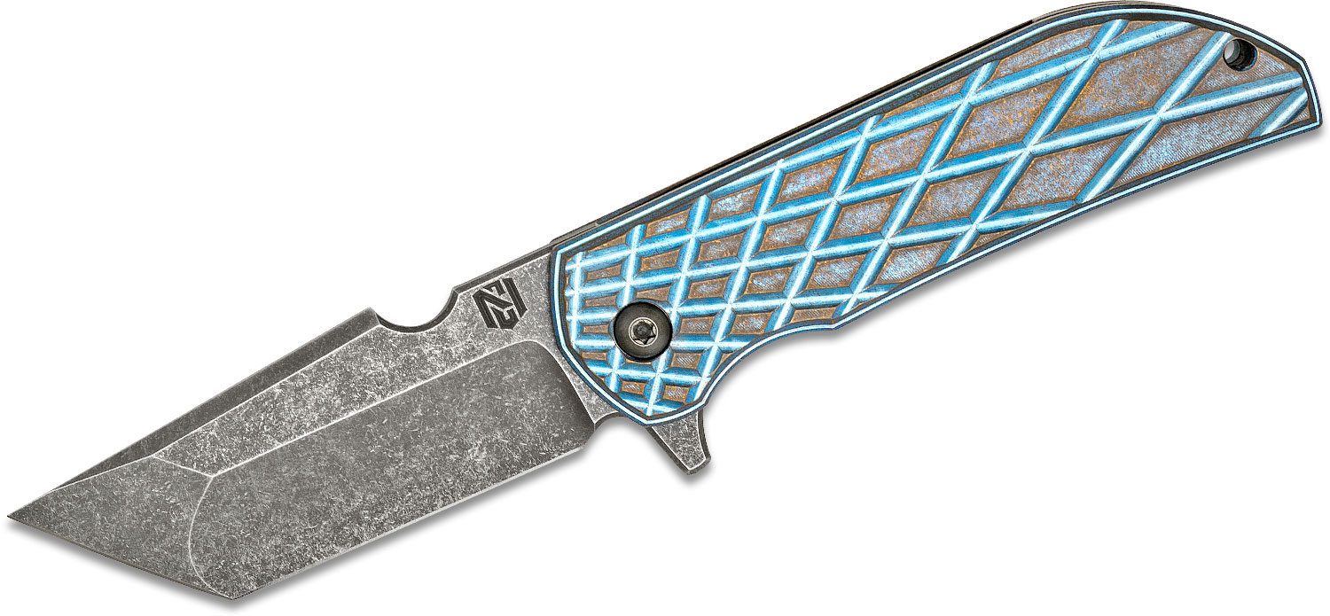 Nick Chuprin/Robert Carter Custom MK1-RC Flipper Knfie 3.125 inch Nitro-V Tanto Blade, Blue/Bronze False Liner Grid Titanium Handles, Zirconium Pivots and Spacer