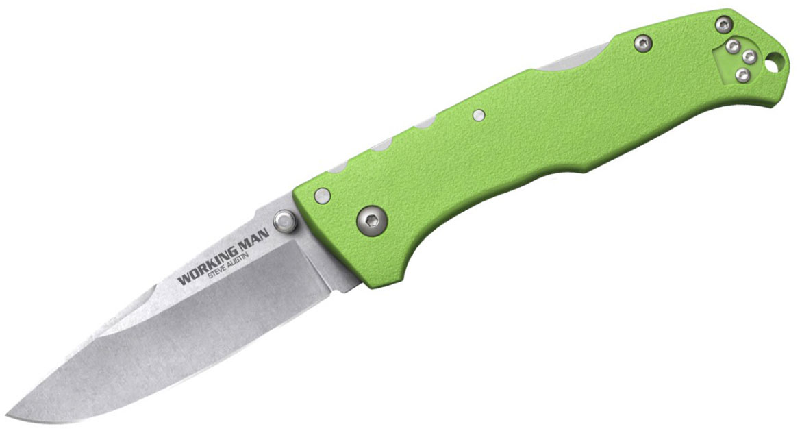 Cold Steel 54NVLM Working Man Folding Knife 3.5 inch German 4116 Stainless Blade, Neon Green GFN Handles