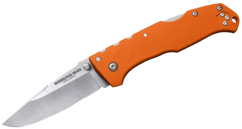 Cold Steel 54NVRY Working Man Folding Knife 3.5 inch German 4116 Stainless Blade, Blaze Orange GFN Handles