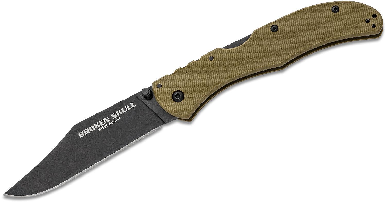 Cold Steel 54S3A Broken Skull III Folding Knife 4 inch S35VN Black DLC Blade, OD Green G10 Handles