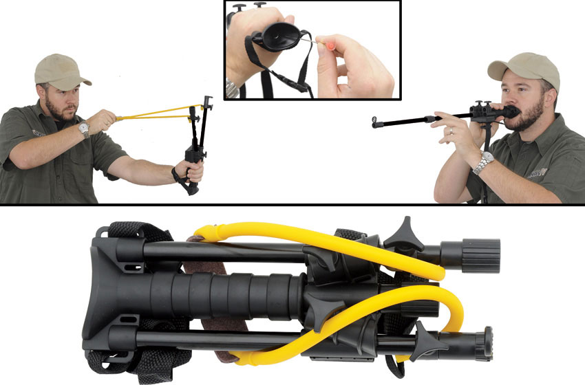 Combat Ready Blow Dart and Slingshot 2-in-1 Combo, Black