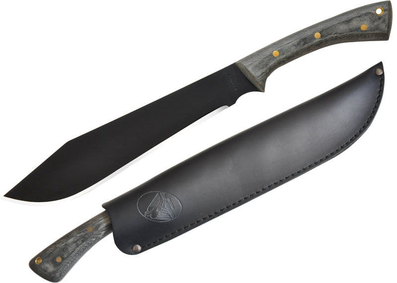 Condor Tool & Knife CTK244-11HCM Boomslang Camp Knife 11 inch Carbon Steel Black Blade, Micarta Handles, Leather Sheath