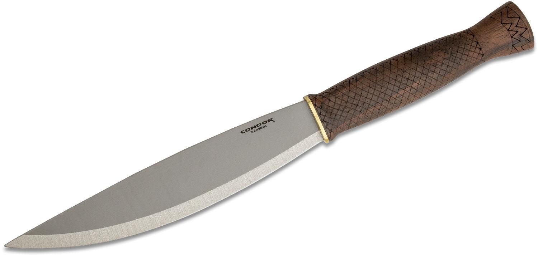 Condor Tool & Knife CTK3946-8.0HC Primitive Bush Lite Fixed Blade Knife 8.01 inch 1095 Carbon Steel, Walnut Wood Handles, Welted Leather Sheath
