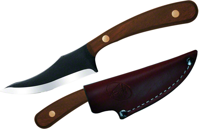 Condor Tool & Knife CTK7004-3.3 Game Surgeon 3-1/4 inch Black Stainless Steel Blade, Hardwood Handles, Leather Sheath