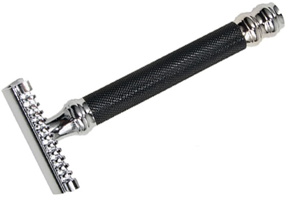 Parker 26C Black/Chrome Double Edge Three Piece Safety Razor, 3.5 inch Handle