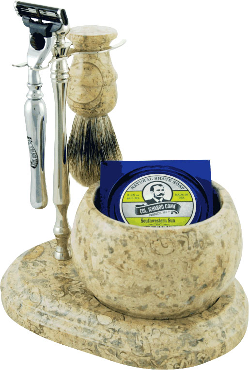 Colonel Conk #250C Handcrafted 5 Piece Marble Shave Set in Fossil, Chrome