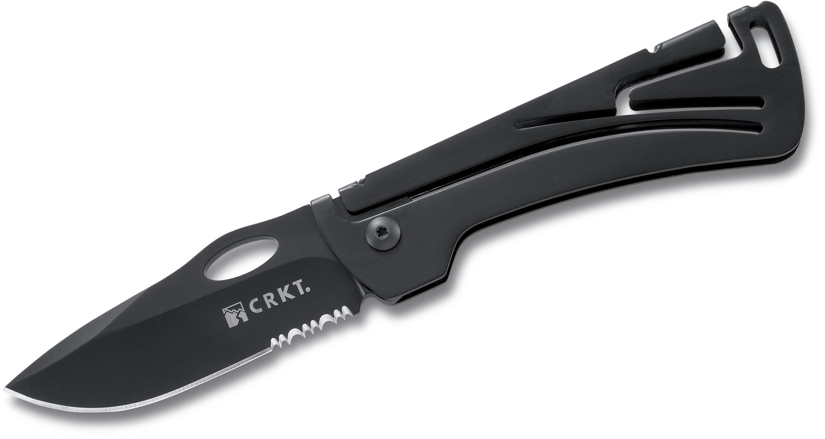 Columbia River 5185 Klecker NIRK 3.125 inch Black Combo Blade, Stainless Steel Handles
