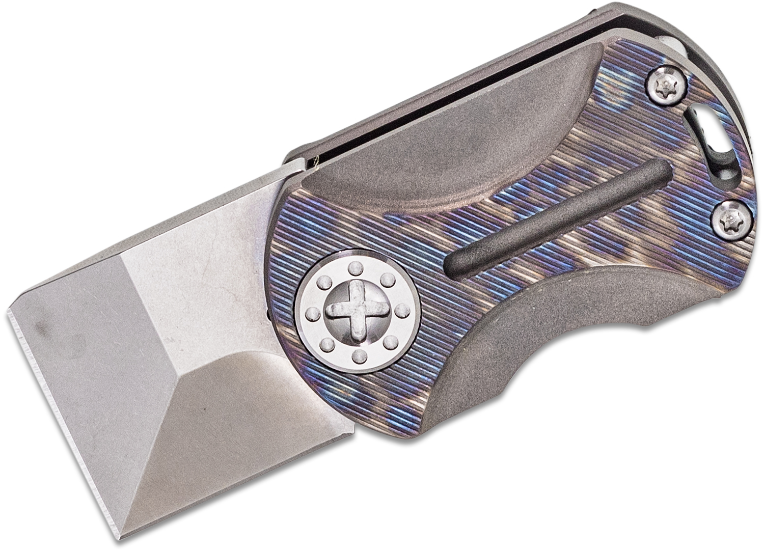 Curtiss Knives ODT Original Dog Tag Flipper Knife 1 inch Stonewashed CTS-XHP Square Tanto Blade, Torched TACMOD Titanium Handles